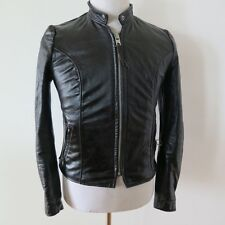VINTAGE ORIGINAL LEATHER JACKET BROOKS SPORTSWEAR DETROIT 1970's BLACK SZ 32 XS