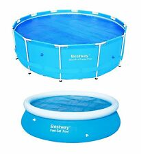 More details for bestway solar cover swimming pool 8ft 10ft 12ft heats the water keeps debris out