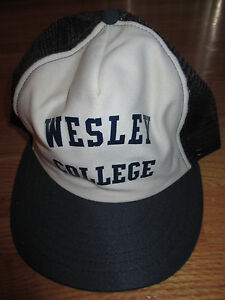 Vintage Adjust-A-Tab WESLEY COLLEGE WOVERINES (Adjustable Snap Back) Mesh Cap