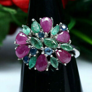 Natural Emerald Ruby Sapphire Ring 925 Sterling Silver Party Ware Ring Jewelry