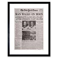 VINTAGE SPACE NEWSPAPER MOON ALDRIN ARMSTRONG BLACK FRAMED ART PRINT B12X11836