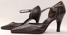 MARKS & SPENCER ladies womens brown Mary Jane leather shoes size 5.5 EU 39