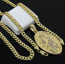 """Mens Gold Plated Hip-Hop Oval Virgin Mary Pendant 24"""" Cuban Chain Necklace D525"""