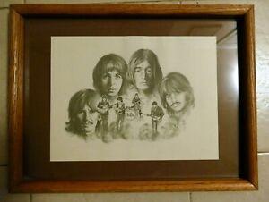 THE BEATLES Art Pencil Sketch Signed Lithograph Glen Bamse 1976