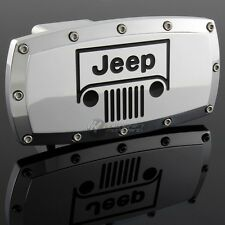 "JEEP Grill Hitch Cover Plug Cap 2"" Trailer Receiver Engraved Billet Allen Bolts"