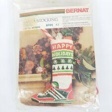 Vtg Bernat Santa Stocking Track Star Quickstitch Wo8566 New Sealed 1981