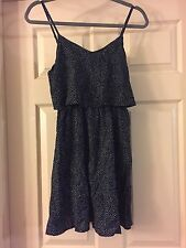 New! H & M Spaghetti Strap Dress in Dark Blue Dotted Size 4 *Fast Free Ship!