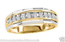 Size 11 Two Tone White Yellow Gold Mens Wedding Anniversary Diamonds Ring Band