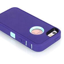 Hybrid Shockproof Hard Tough Armor Case Full Protect Cover FR Apple iPhone SE 5s Purple/light Blue