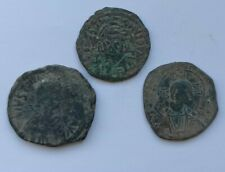 More details for lot of 3 ancient byzantine bronze coins. anastasius i, justinian and basil ii