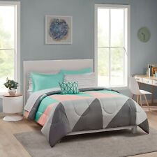 Grey & Teal 8-pc Bed In A Bag Comforter Set Sheet Set Included Sale! - Free S