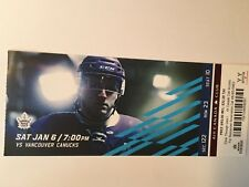 TORONTO MAPLE LEAFS VS VANCOUVER CANUCKS  JANUARY 6, 2018, TICKET STUB