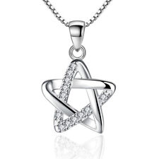 925 Sterling Silver Crystal Star Pendant Necklace For Women Girl Fashion Jewelry