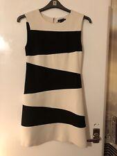 Mango Dress, Size 8, Black/Cream Stripe Stretch, Lined, Sleeveless 1960's style