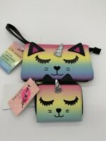 LUV Betsey Johnson Rainbow Unicorn Clutch Wallet/ Wristlet/Organizer-SET 2 PIECE