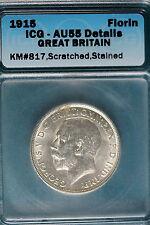 1915 Icg Au55 Details Great Britain Florin Km#817! B6440