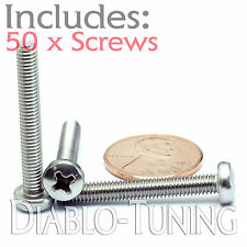 M4 x 30mm - Qty 50 - Stainless Steel Phillips Pan Head Machine Screws DIN 7985 A
