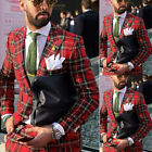 Red Plaid Mens Suits for Wedding 2 Pieces Groom Suits Slim Fit Wedding Tuxedos