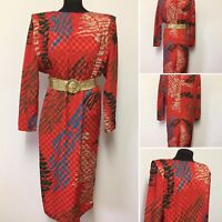 Stunning Red Dress Shoulder Pads Loose Or Belted Bold Unique Bohemian Party Xmas