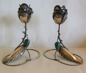 PAIR OF STERLING SILVER CANDLESTICKS FULLY HAND MADE BY Y.DAR-EILAT STONE-ISRAEL