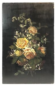 Antique 19th C Victorian Roses & Honeysuckle Flowers Oil Painting On Wood Panel