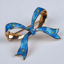 Art Nouveau Enamel Bow Pin Brooch Watch Receiver 18 kt Gold c. 1900's #A1078