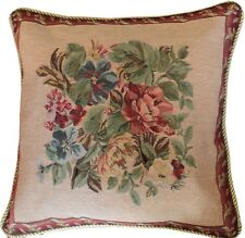 Tache 2PC Vintage Yuletide Red Blooms Woven Tapestry Cushion Throw Pillow Cover