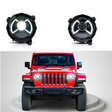 Full LED Healights For 2018 2019+ Jeep Wrangler JK JL TL LJ CJ Bule & White DRL