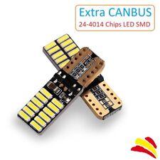 x2 Bombillas LED Canbus Extra T10 SMD Blanca 5500K COB 4014 W5W Coche Xenon Moto