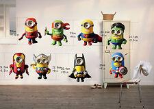 8 Minions (The Avengers) Wandtattoo Aufkleber Wohnzimmer Wandsticker Sticker