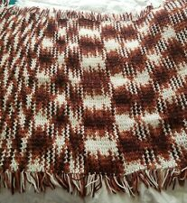 "Vintage Brown Beige 70 "" x 40 "" Handmade Afghan Knit Stripes Blanket Sofa Throw"