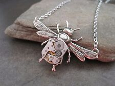 Handmade Steampunk Silver Bee Necklace