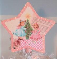 Handmade Shabby Pink Angel Christmas Tree Topper, Star Shaped, Retro Kitsch