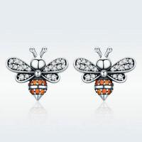 925 Sterling Silver Bee Earrings Charm CZ Drops Beauty Women Gift New Jewelry
