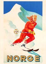 Vintage Ski Posters NORGE. NORWAY SKIING, circa 1930's, 250gsm Art Deco Print