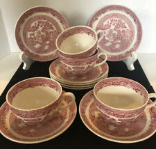 7 SetsVintage Red/Pink Willow Ware Tea Cup/Saucer Allertons China Transferware