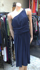 Joseph Ribkoff 18 BNWT Gorgeous One Shoulder Navy Blue Stretch Jersey Dress US16