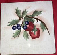 "Fresh Fruit Porcelain Art Tile Coaster Trivet Hand Painted  6"" x 6"""