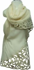 Abendstola Schal 100% Wolle Beige wool scarf écharpe  uni mit Filz