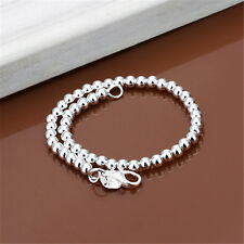 Fashion Women 925 Silver 6MM Beads Chain Bangle Cuff Charm Bracelet Jewelry Gift