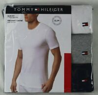 Tommy Hilfiger 3 pack White Grey Navy Slim Fit Crew Neck T-shirts Tee NWT