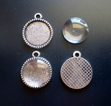 DIY Pendant Trays and Glass Cabochons - 10 Sets - Antique Silver
