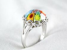 Genuine Murano Millefiori Glass Ring By Alan K 925 Sterling Silver Size 6