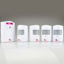 Driveway Patrol Wireless Alarm Alert Chime Secure System 4 Motion Sensors 100M