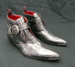 JEFFERY-WEST 'MUSE' Silver Reptile VEGAN Leather ADAMANT Buckle chukka Boot UK 8