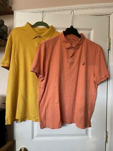 2 Nautica cotton golf shirts XXL slim fit orange and yellow
