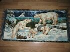 """Vintage POLAR BEAR WALL TAPESTRY Fringed RUG Bright Colors 36"""" x 18.5"""""""