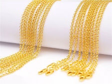 5PCS 22inch 18K Yellow Gold Filled Pearl Cross Chain Necklaces Wholesale