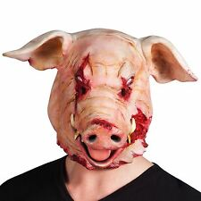 Mens Halloween Bloody Pig Mask Animal Overhead Horror Fancy Dress Costume Mask