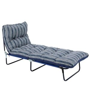 Padded Reclining Sun Lounger Day Bed (Chaise Cushioned Chair Navy Blue Garden)